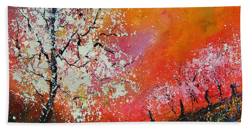 Spring Hand Towel featuring the painting Spring Today by Pol Ledent