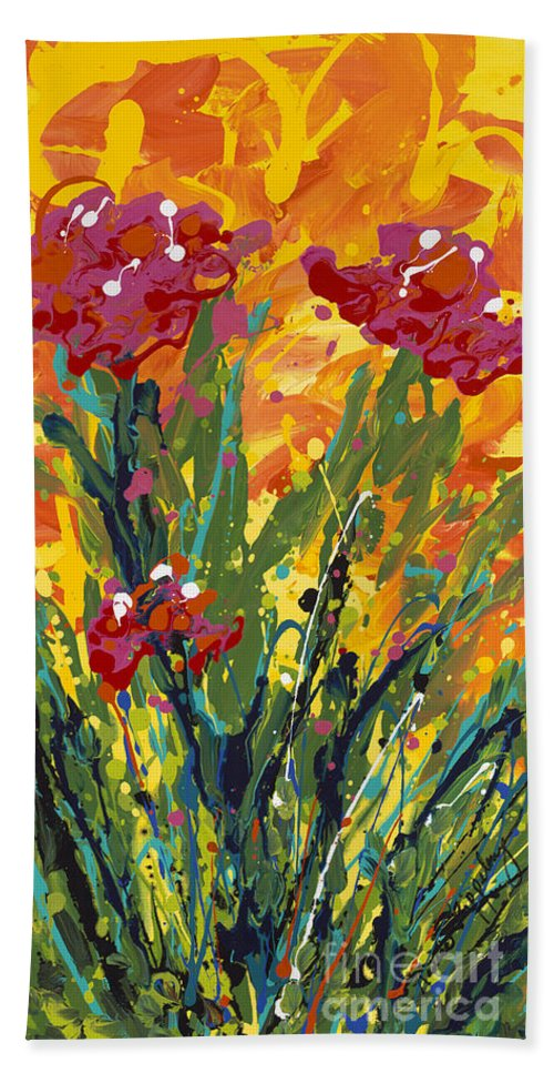 Spring Bath Sheet featuring the painting Spring Tulips Triptych Panel 1 by Nadine Rippelmeyer