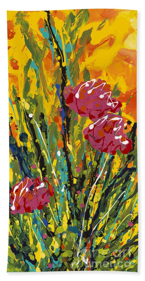 Flowers Bath Sheet featuring the painting Spring Tulips Triptych Panel 2 by Nadine Rippelmeyer