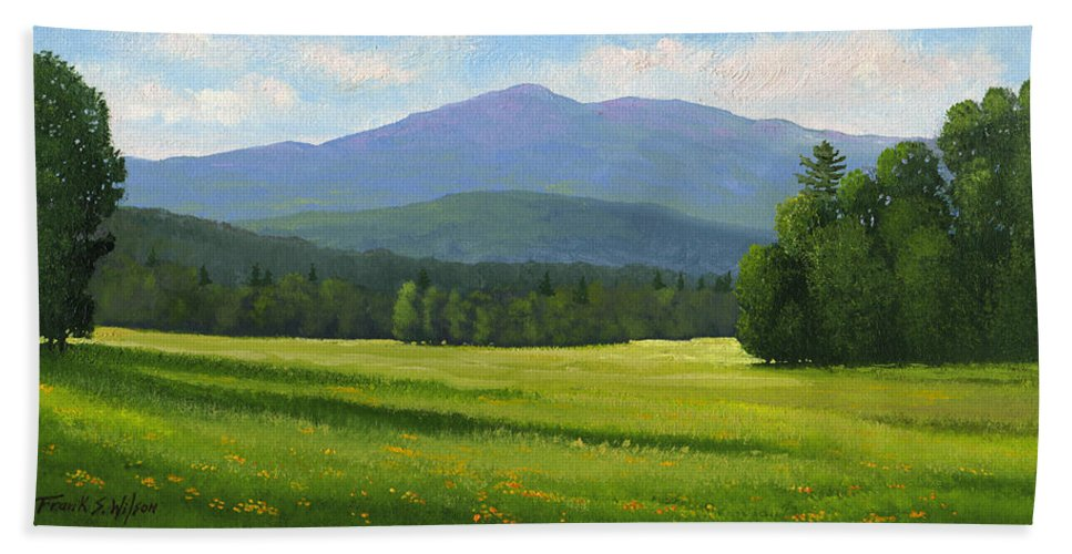 Landscape Bath Towel featuring the painting Spring Vista by Frank Wilson
