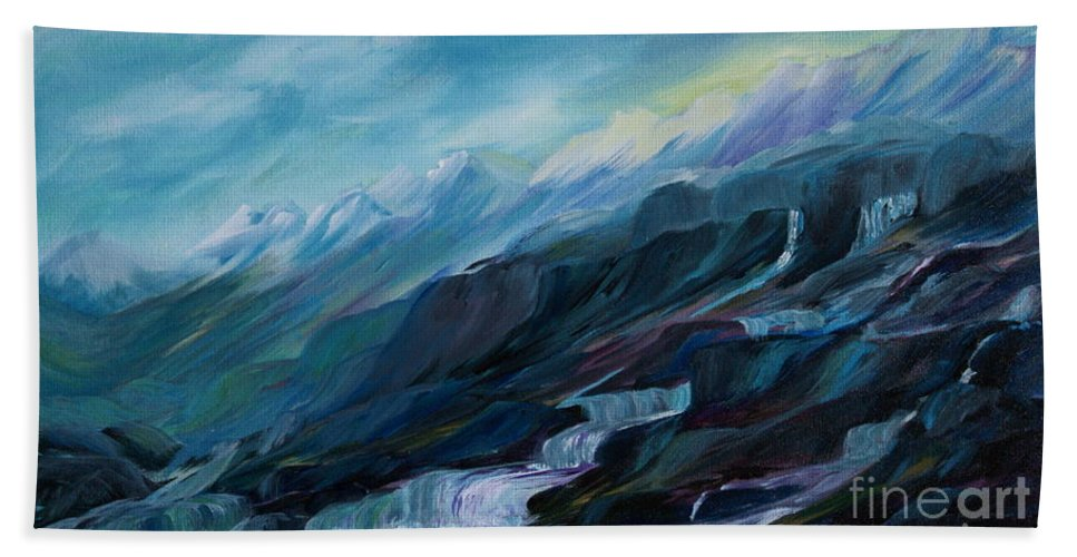 Spring Water Trickling Down Mountains Hand Towel featuring the painting Spring Water by Joanne Smoley