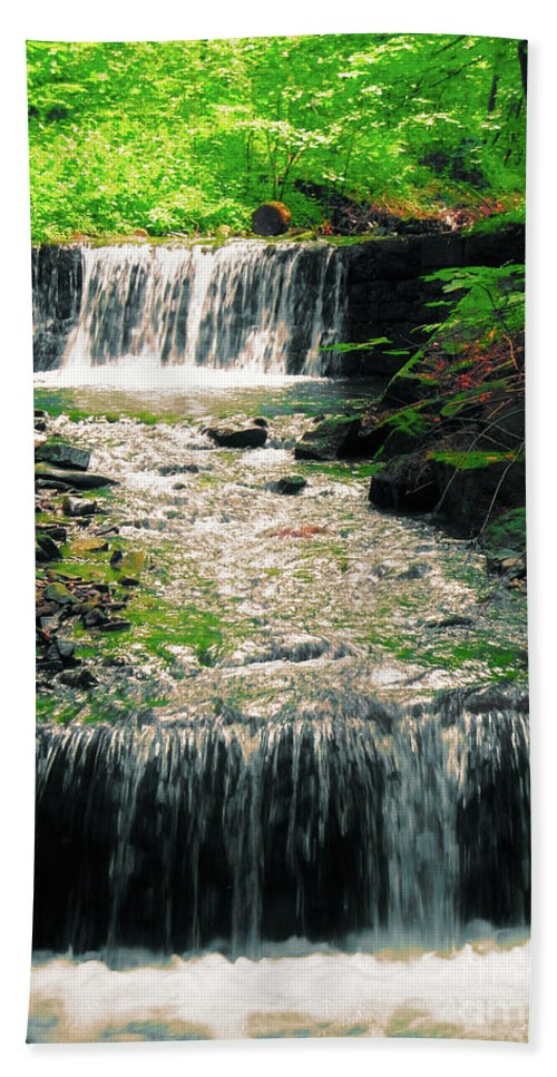 Mountain Waterfall Hand Towel featuring the photograph Spring Waterfall by Mariola Bitner