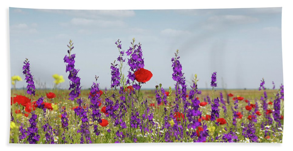 Poppy Hand Towel featuring the photograph Spring Wild Flowers Meadow by Goce Risteski