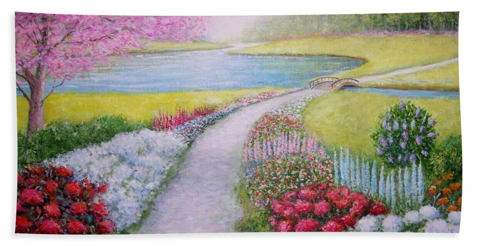 Landscape Bath Towel featuring the painting Spring by William H RaVell III