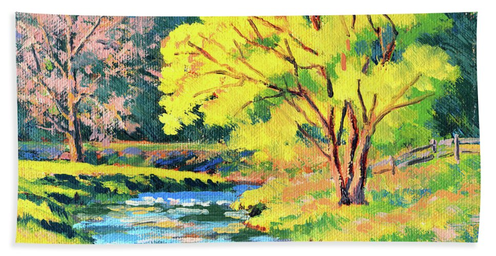 Impressionism Bath Sheet featuring the painting Spring Willow by Keith Burgess