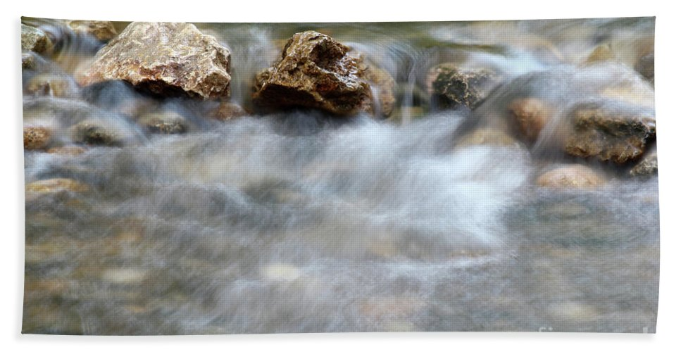 Stream Hand Towel featuring the photograph Spring With Rocks Nature Scene by Goce Risteski