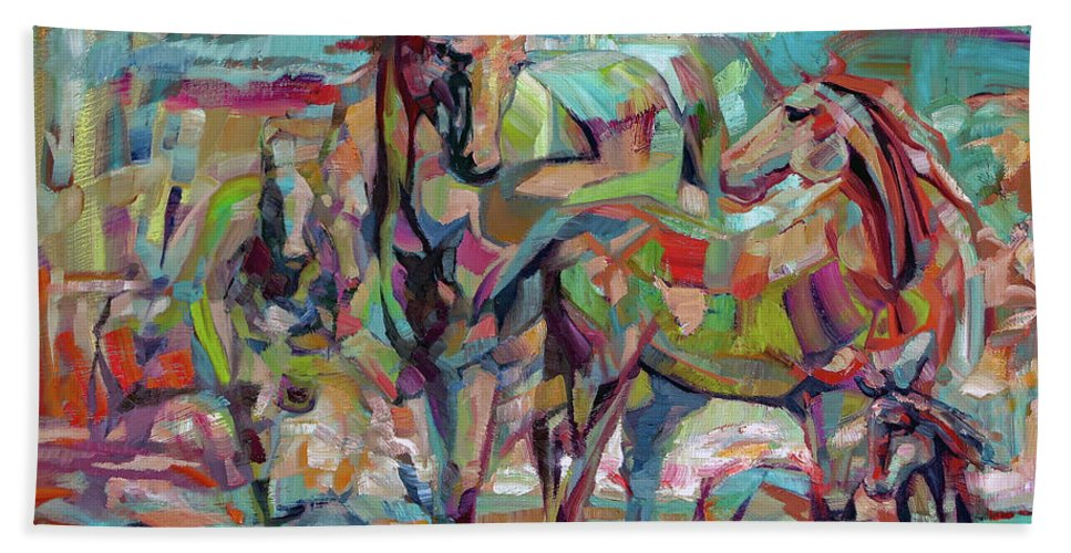 Horse Bath Sheet featuring the painting Springponies by Lara Branca