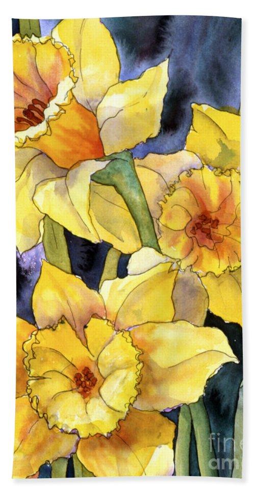 Springtime Daffodils Bath Sheet featuring the painting Springtime Daffodils by Teresa Ascone