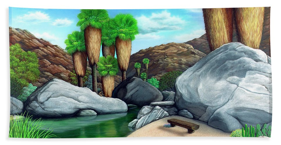 Landscape Bath Towel featuring the painting Springtime In The Canyons by Snake Jagger