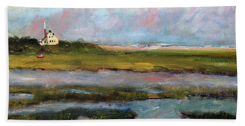 Nature Hand Towel featuring the painting Springtime In The Marsh by Michael Helfen