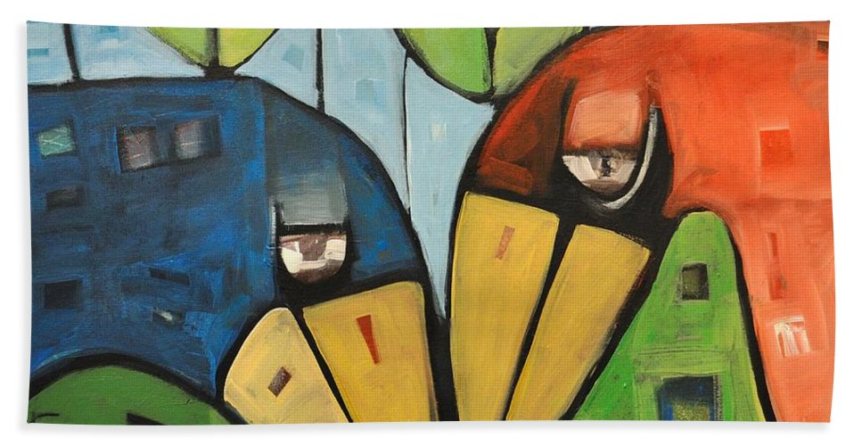 Birds Hand Towel featuring the painting Springtime Lovebirds by Tim Nyberg