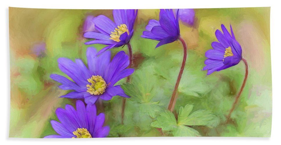 Anemone Hepatica Hand Towel featuring the photograph Springtime Riot by Mary Jo Allen