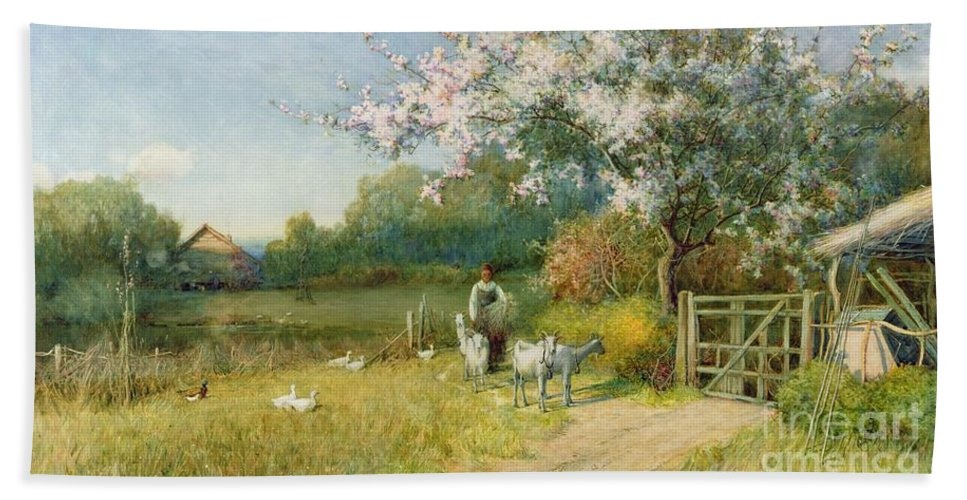 Springtime By Sir Alfred East (1849-1913) Hand Towel featuring the painting Springtime by Sir Alfred East