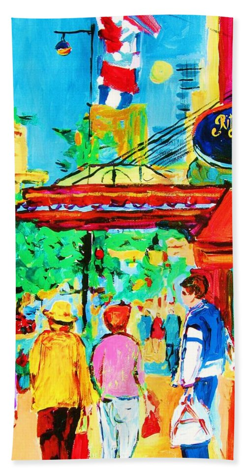 Paintings Of The Ritz Carlton On Sherbrooke Street Montreal Art Bath Sheet featuring the painting Springtime Stroll by Carole Spandau
