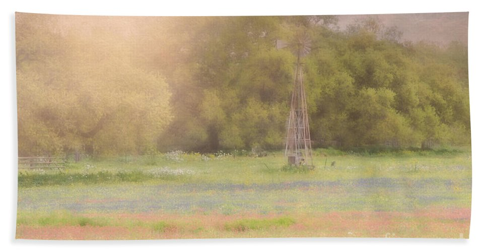 Bluebonnets Hand Towel featuring the photograph Springtime Texas Windmill by Darla Rae Norwood