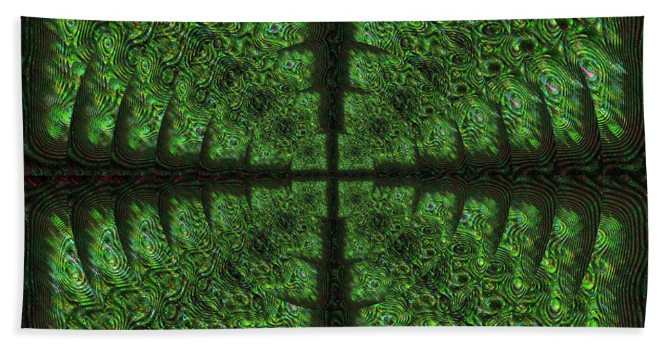 Abstract Hand Towel featuring the digital art Square Crop Circles Four by Diane Parnell