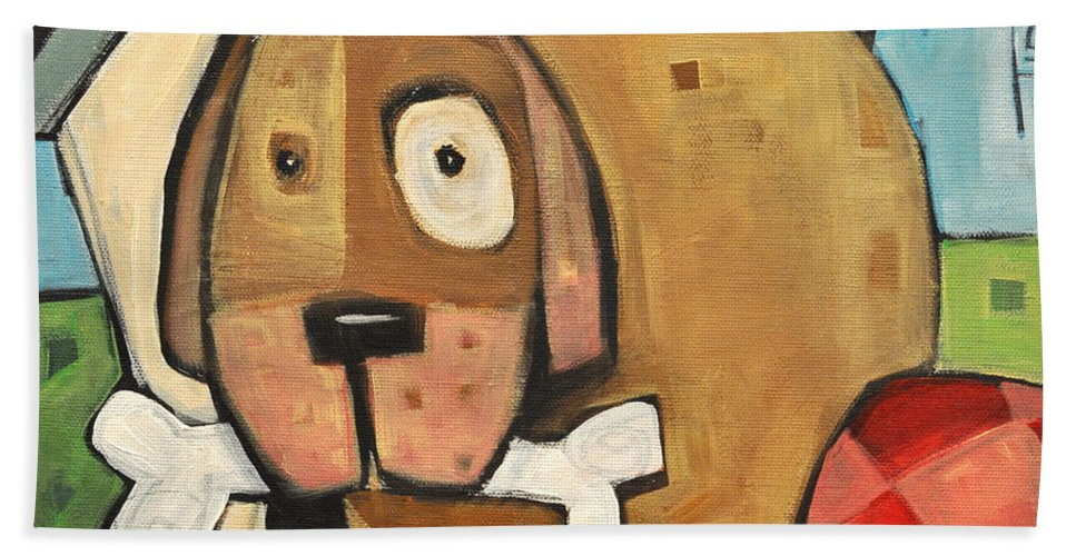 Dog Bath Sheet featuring the painting Square Dog by Tim Nyberg