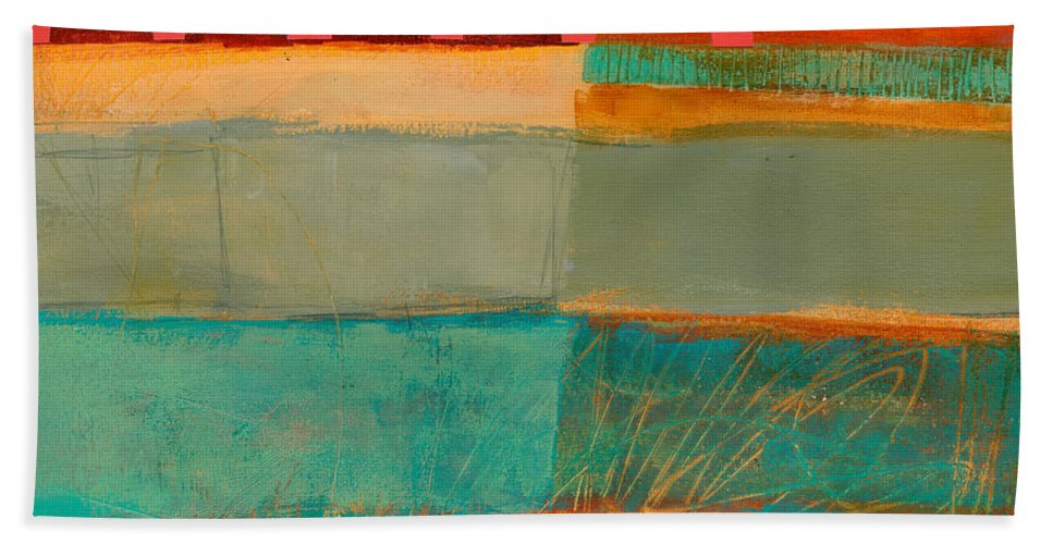 Abstract Art Hand Towel featuring the painting Square Stripes by Jane Davies