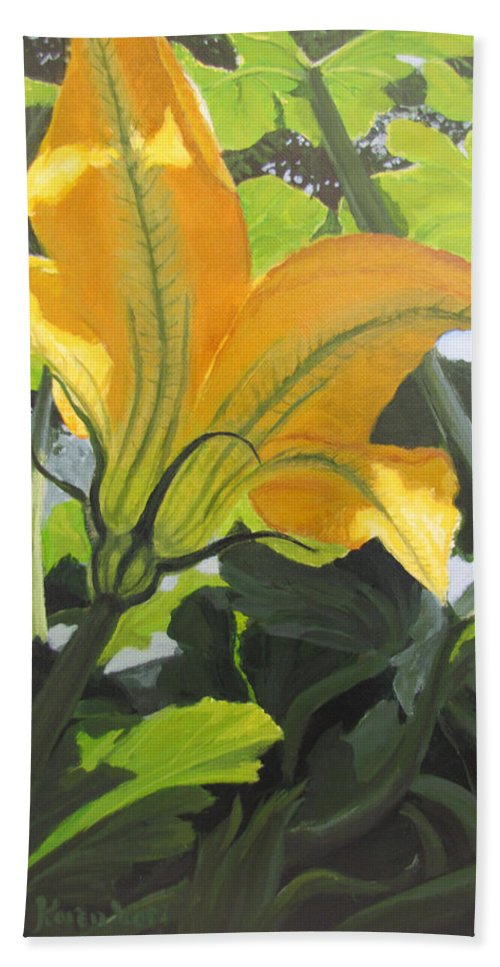 Vegetable Bath Sheet featuring the painting Squash Blossom by Karen Ilari