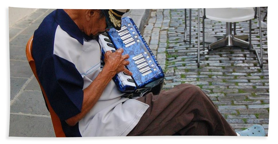 People Bath Sheet featuring the photograph Squeeze Box by Debbi Granruth