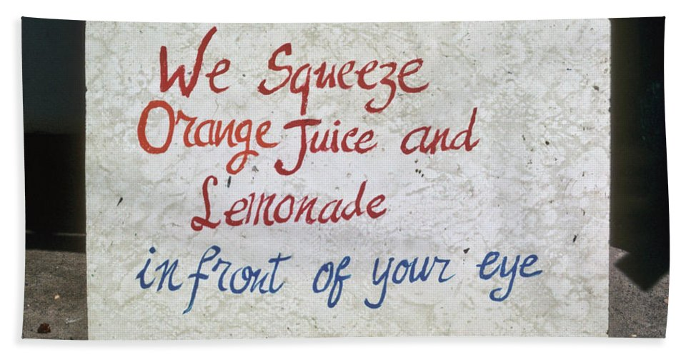 Color Hand Towel featuring the photograph Squeezed Juice Sign by Frank DiMarco
