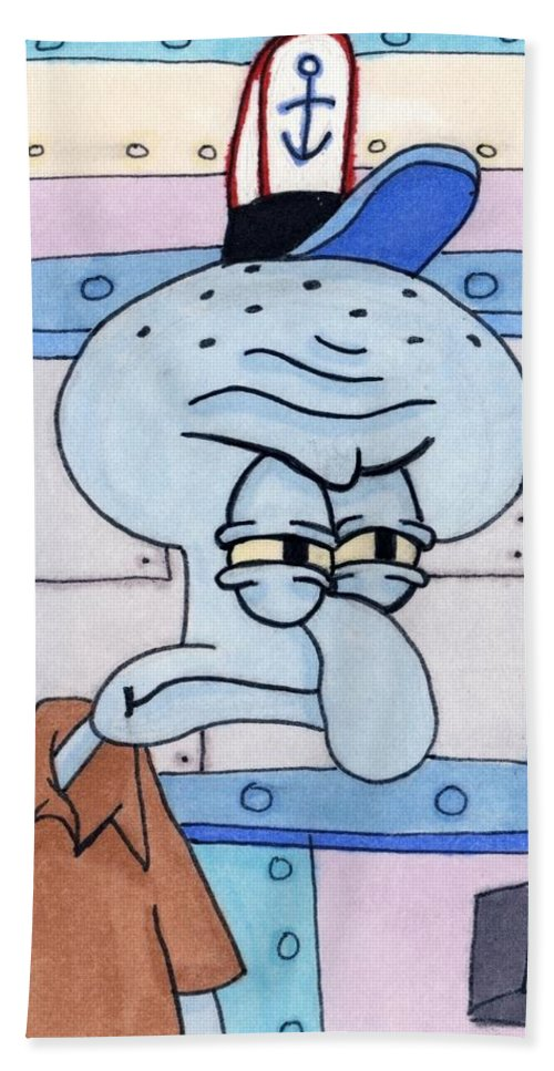 Comic Bath Sheet featuring the painting Squidward by Tambra Wilcox