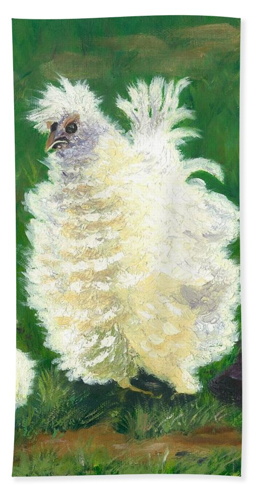 Bantam Frizzle Farmscene Chickens Hen Bird Nature Animals Spring Freerangers Hand Towel featuring the painting Squiggle by Paula Emery