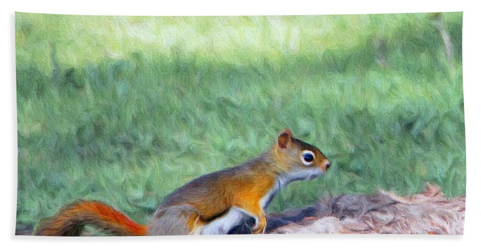 Squirrel Hand Towel featuring the painting Squirrel In The Park by Jeffrey Kolker