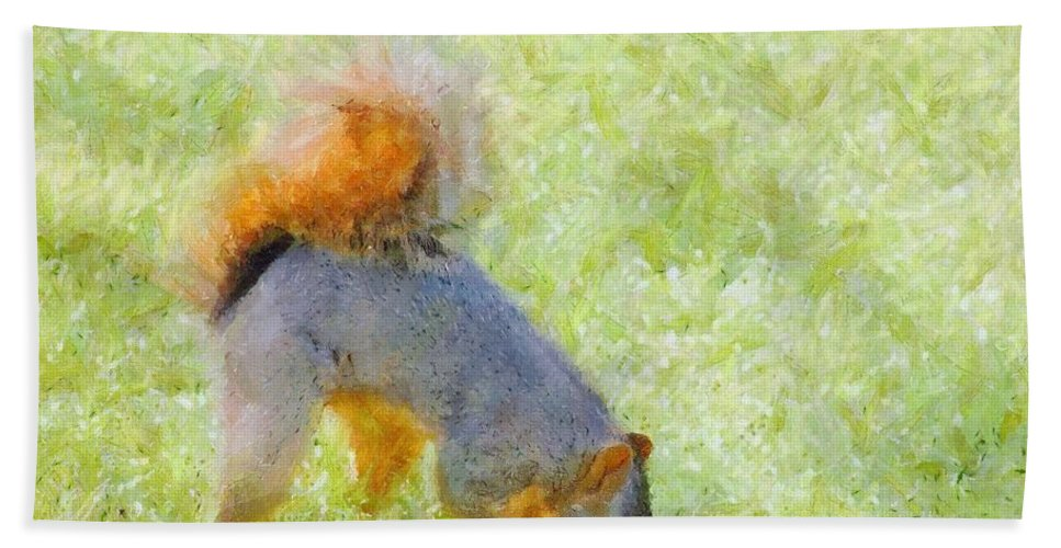 Squirrel Hand Towel featuring the painting Squirrelly by Jeffrey Kolker