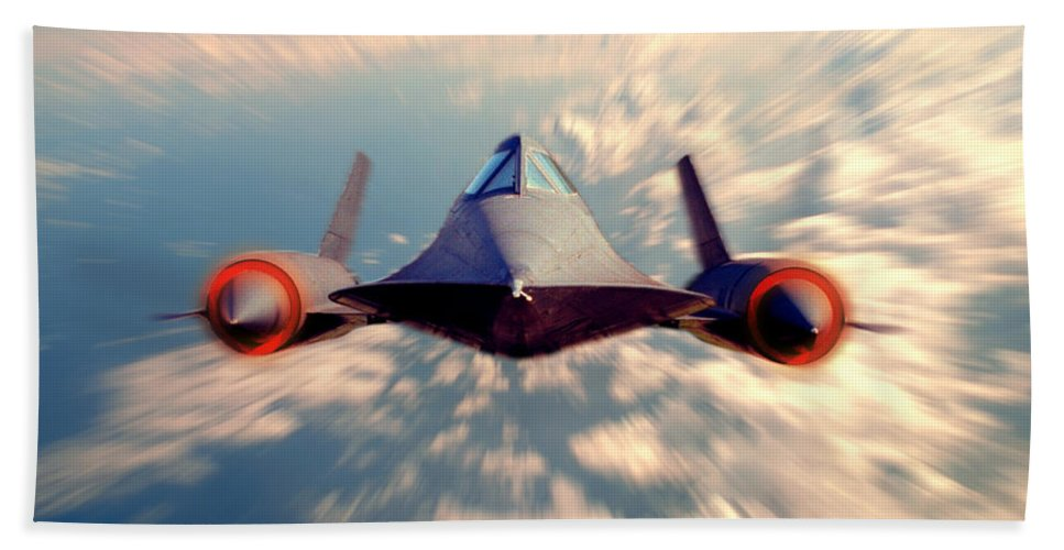 Sr-71 Bath Sheet featuring the photograph Sr 71 by Jerry McElroy