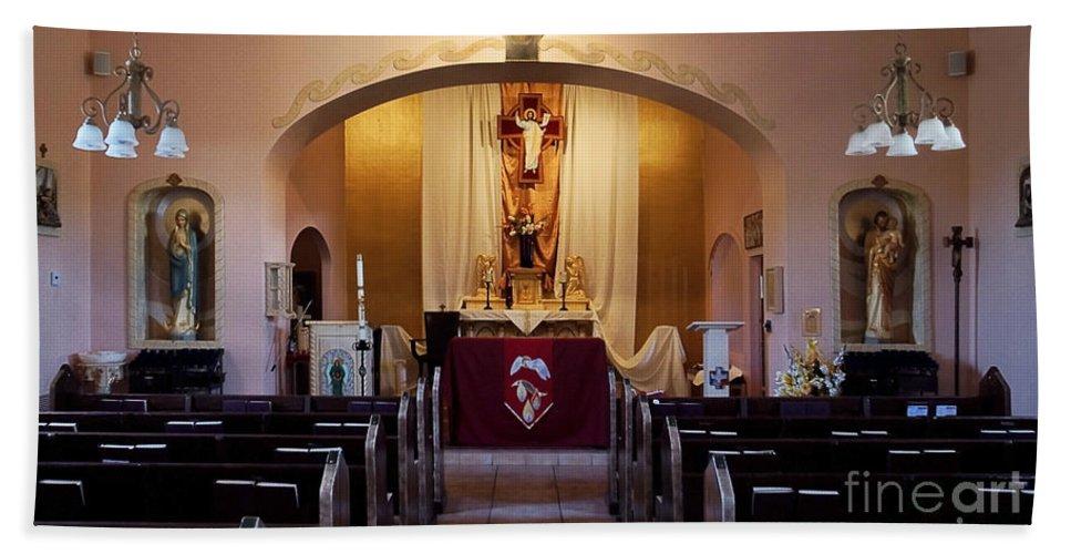 St. Ann's Church Of Tubac Arizona Bath Sheet featuring the photograph St. Ann's Church Of Tubac Arizona by Priscilla Burgers