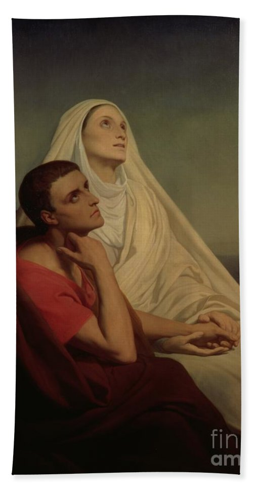 Praying; Widow; Devout; Family Bath Sheet featuring the painting St Augustine And His Mother St Monica by Ary Scheffer