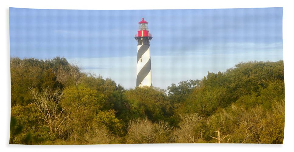 St. Augustine Florida Bath Sheet featuring the photograph St. Augustine Light House by David Lee Thompson