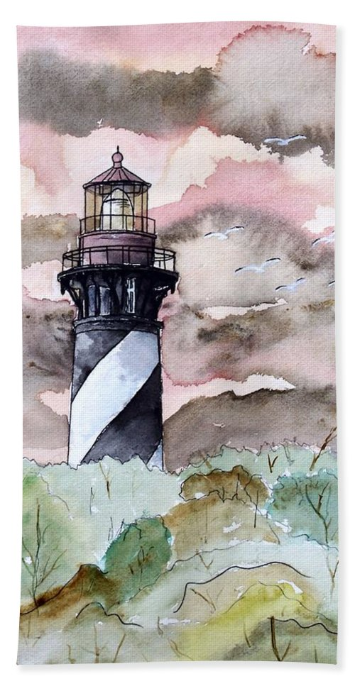 Lighthouse Hand Towel featuring the painting St Augustine Lighthouse by Derek Mccrea