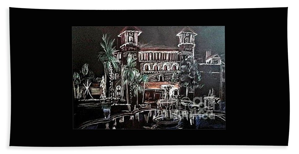 Hand Towel featuring the painting St Augustine Lightner Museum Nights Of Lights by Patricia Ducher