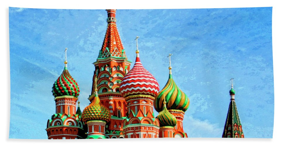 St. Basil's Cathedral Bath Sheet featuring the mixed media St. Basil's Cathedral Moscow by Dominic Piperata
