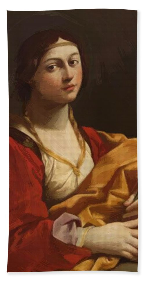 St Hand Towel featuring the painting St Cecilia by Reni Guido