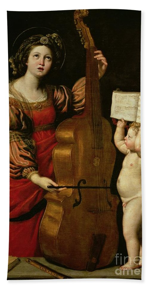 St. Cecilia With An Angel Holding A Musical Score Bath Sheet featuring the painting St. Cecilia With An Angel Holding A Musical Score by Domenichino