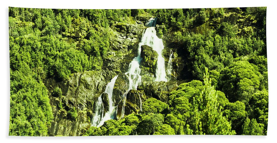 Waterfall Bath Towel featuring the photograph St Columba Falls Tasmania by Jorgo Photography - Wall Art Gallery