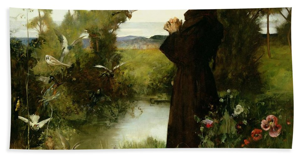 St. Francis Bath Sheet featuring the painting St. Francis by Albert Chevallier Tayler