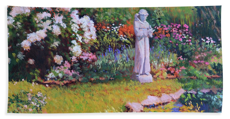St. Francis Bath Sheet featuring the painting St. Francis In The Garden by Keith Burgess