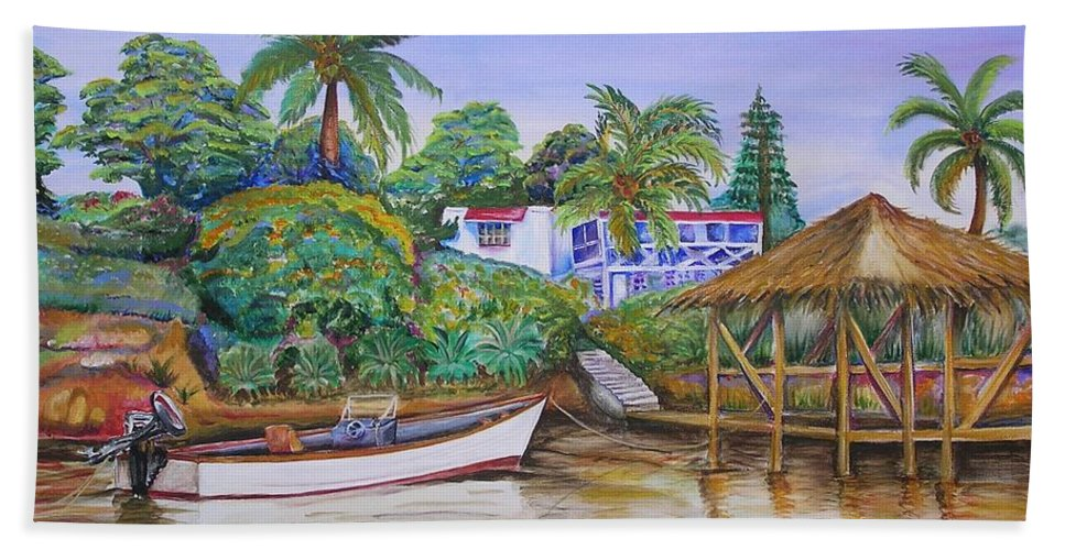 Caribbean Bath Sheet featuring the painting St. George Harbor by Patricia Piffath