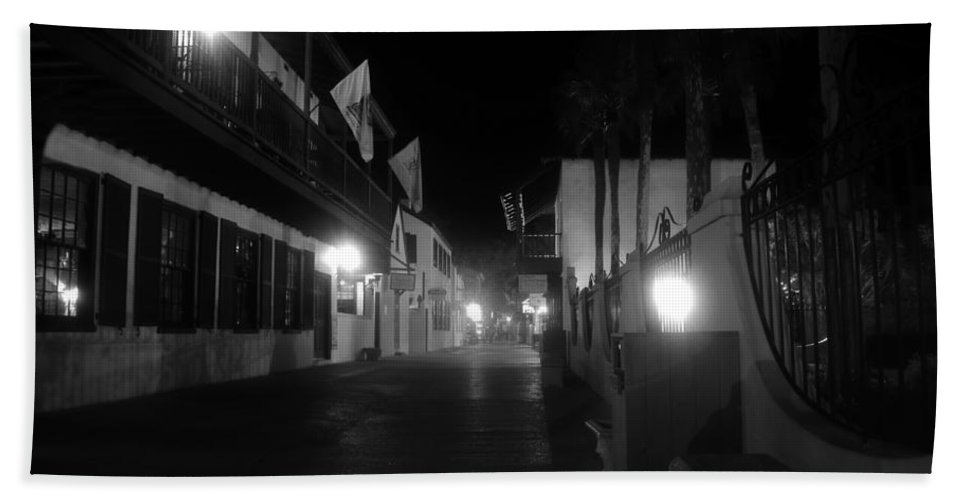 St. Augustine Florida Bath Sheet featuring the photograph St. George Street Ghosts by David Lee Thompson