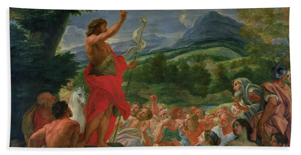 St. John The Baptist Preaching Hand Towel featuring the painting St John The Baptist Preaching by II Baciccio - Giovanni B Gaulli