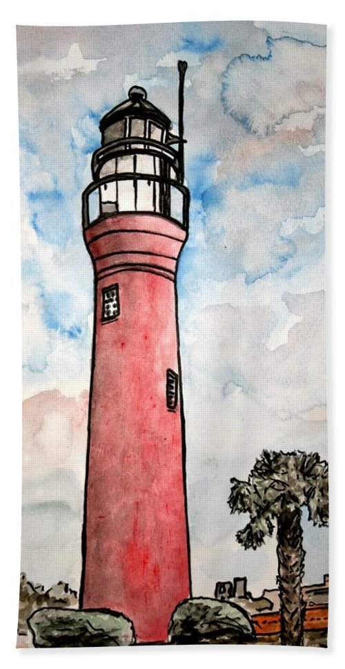 Lighthouse Hand Towel featuring the painting St Johns River Lighthouse Florida by Derek Mccrea