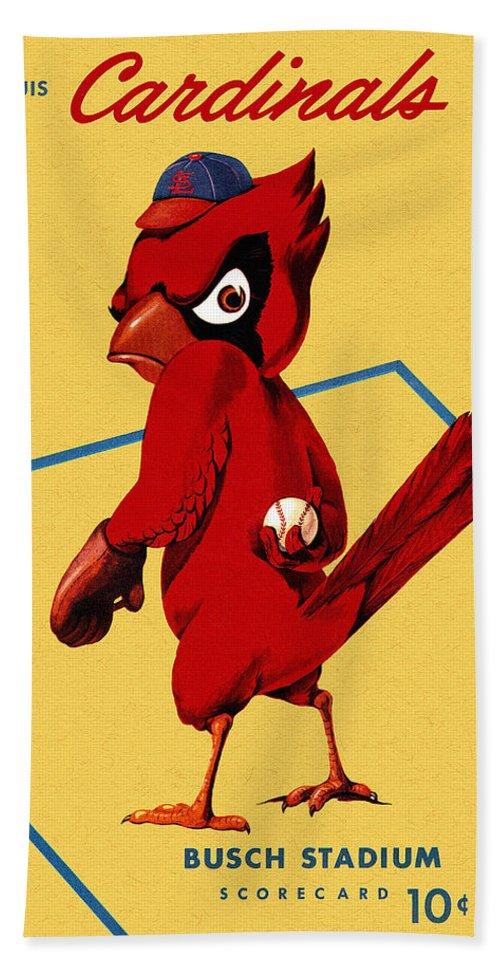 St. Louis Cardinals Hand Towel featuring the painting St. Louis Cardinals Vintage 1956 Program by John Farr