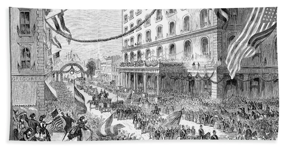 1870s Bath Sheet featuring the photograph St. Louis: Parade, 1872 by Granger