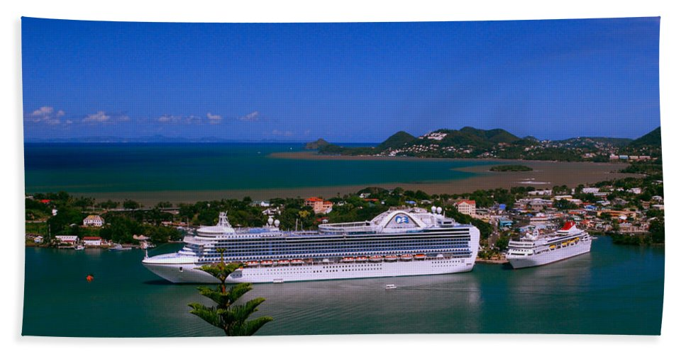 Cruise Ships Hand Towel featuring the photograph St. Lucia Port by Gary Wonning