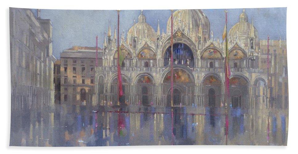St. Mark's Square; Venice; Venetian Architecture; Italian; Basilica; Saint; Venetian; Facade; Domes; Dome; Rain Bath Sheet featuring the painting St Mark's -venice by Peter Miller