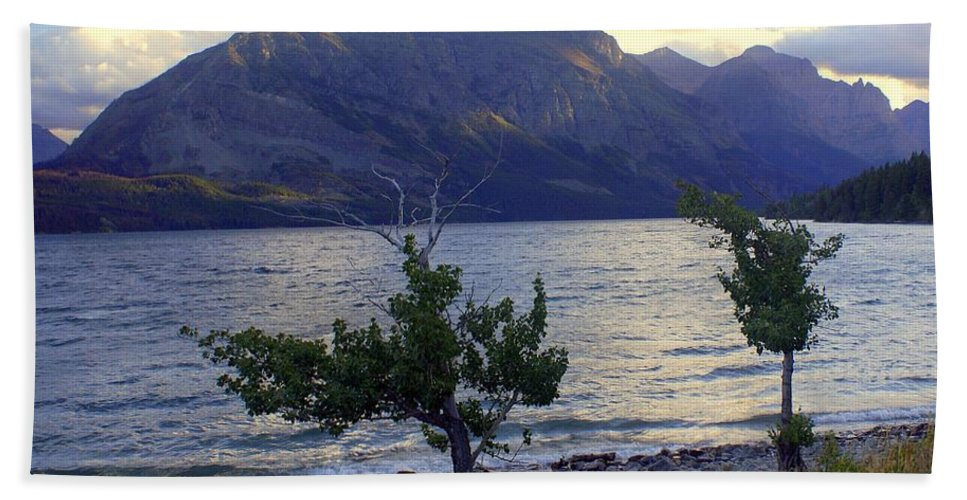 St. Mary's Lake Hand Towel featuring the photograph St. Mary Lake by Marty Koch